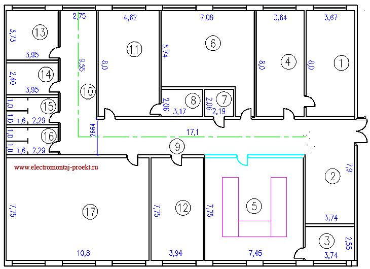 Рис. 1 План офисного помещения